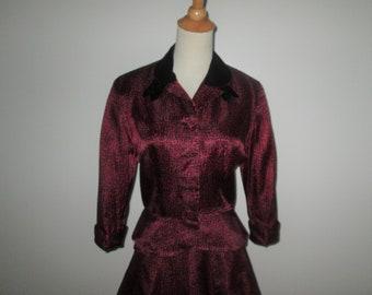 Vintage 1950s Pink And Black Suit By Leslie Fay Original - Size M