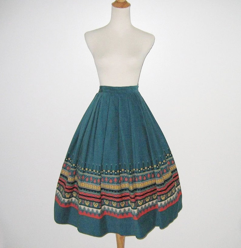 Vintage 1950s Teal Blue Corduroy Novelty Print Skirt With Abstract Design By Shirley Lee S Size XS