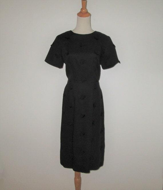 Vintage 1950s Black Moygashel Irish Linen Dress Wi