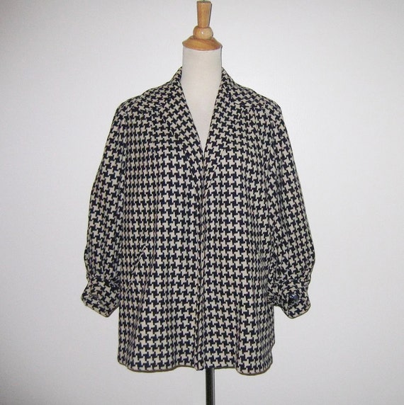 Vintage 1940s 1950s Navy Houndstooth Swing Jacket