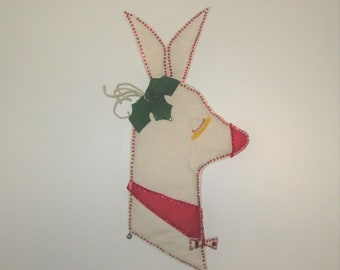 Vintage Felt Reindeer Christmas Wall Hanging Decoration - Cute!