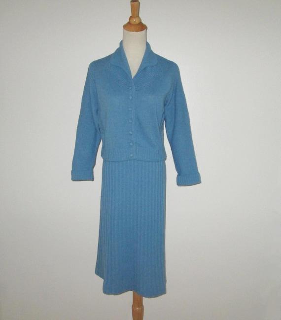 Vintage 1950s Blue Sweater Skirt Set Suit Dress By