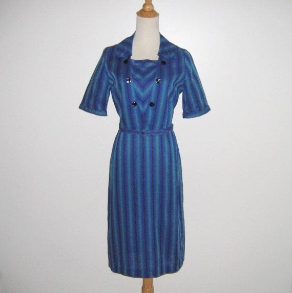 Vintage 1950s 1960s Blue Striped Shadow Plaid Dres