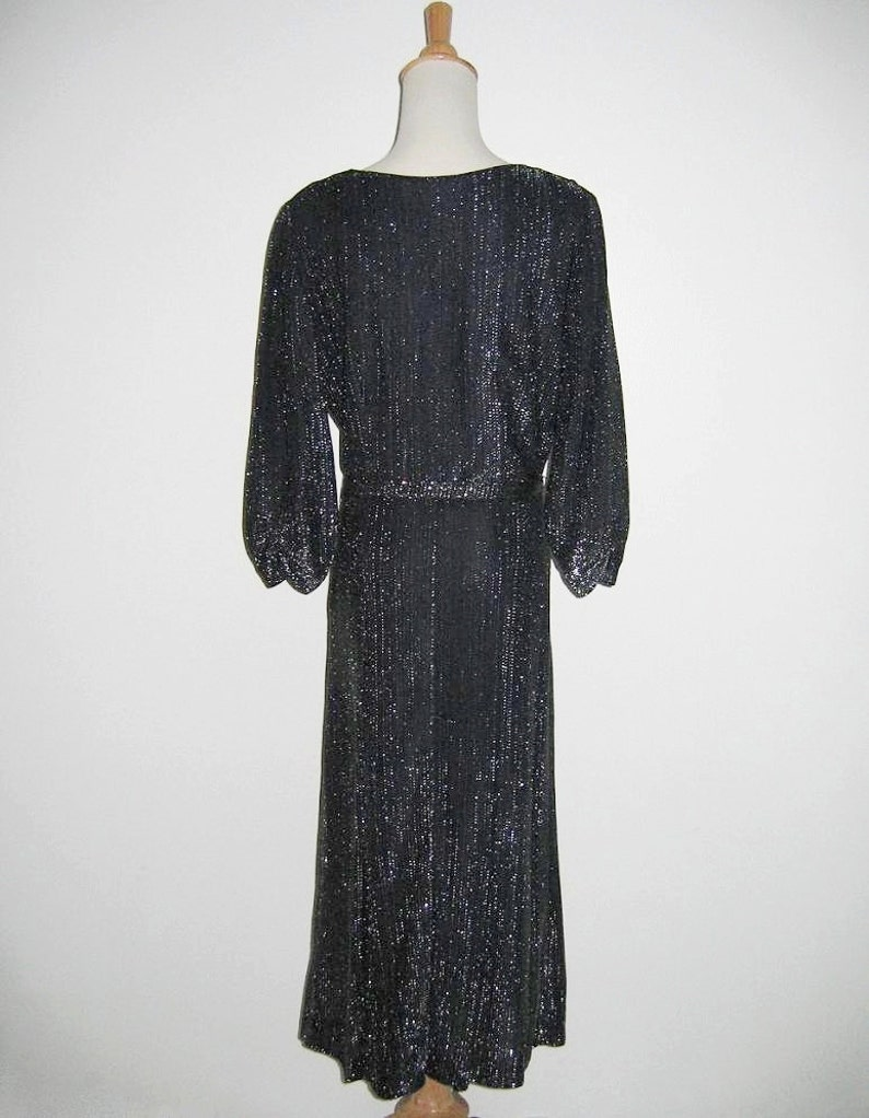 Vintage 1950s Black Lurex Dress Styled By Ruxton L Size M