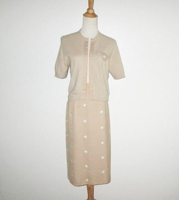 Vintage 1950s Tan Floral Sweater Skirt Set With Em