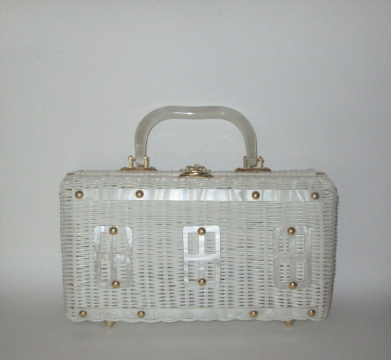 Vintage 1960s White Wicker Lucite Handbag