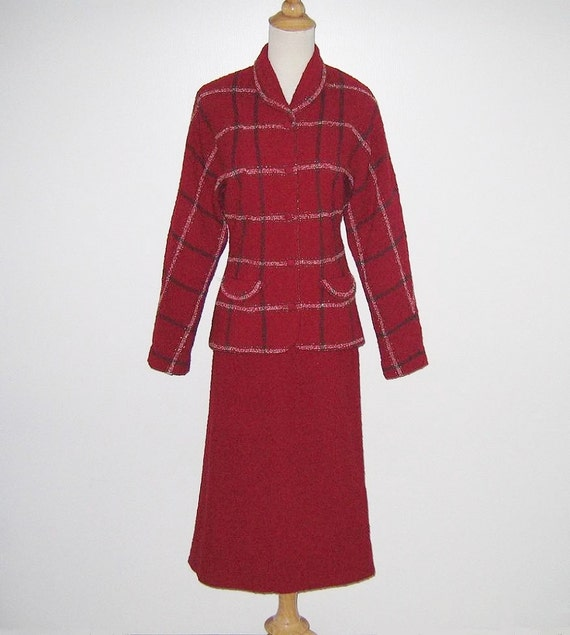 Vintage 1940s 1950s Cranberry Red Plaid Suit By Lo