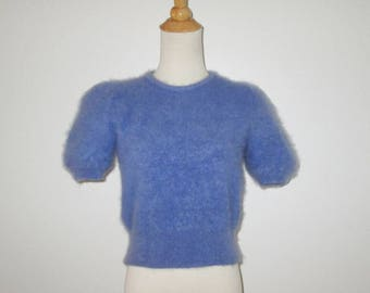 Vintage Blue Angora Pullover Short Sleeve Sweater - Size XS, S