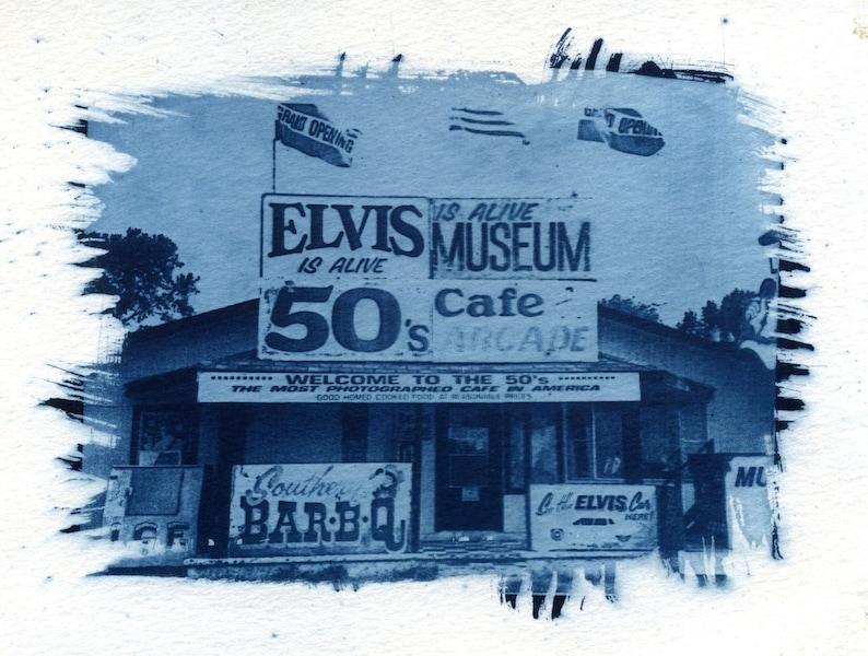 5193aaf628c Elvis cyanotype sun print Elvis Presley print Graceland   Etsy