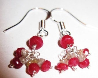 Genuine Diamond and Ruby  Earring clusters