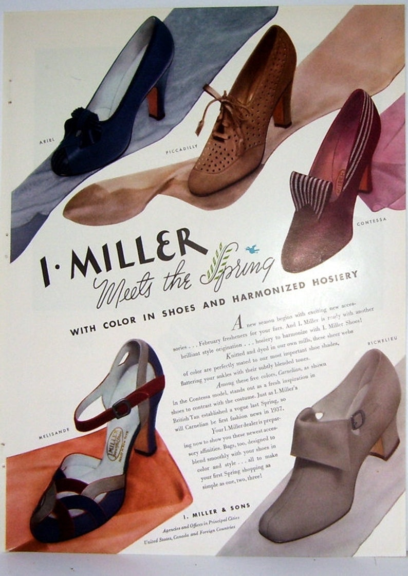 19240a292cf6e I. Miller and Sons Shoe Ad 1937, Ladies Classy Shoes, Double Side Ad,  Yardley's Bond Street Perfume Ad, Salute to Royalty