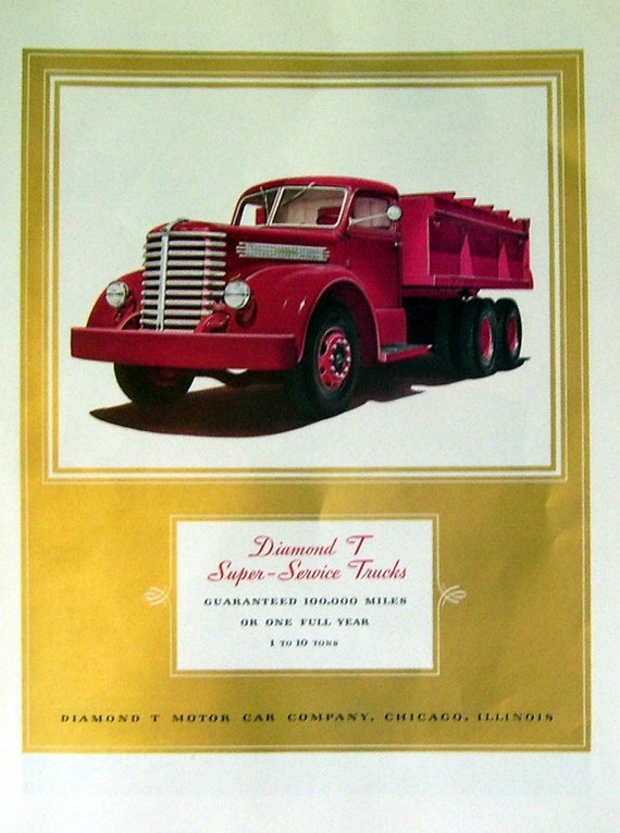 1940 Diamond T Motor Car Truck Ad Original Magazine Page Etsy