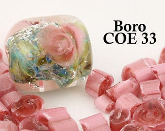 Boro Pink Rose Complex Flower Murrini - COE 33