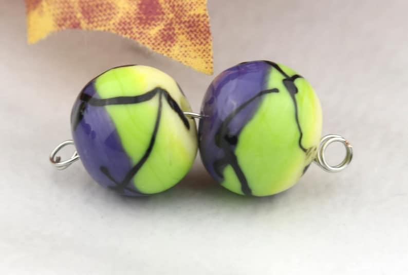 Color Blocks Lilac pea and banana Lampwork Bead pair