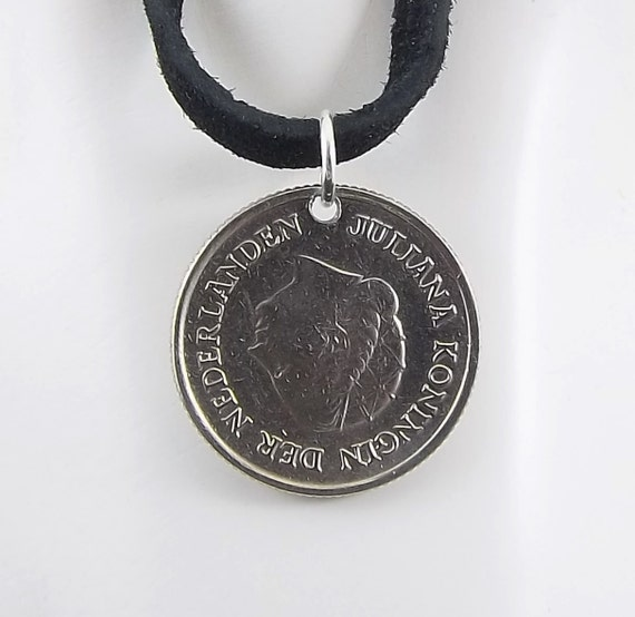 Netherlands Coin Necklace 25 Cents Coin Pendant Leather Etsy