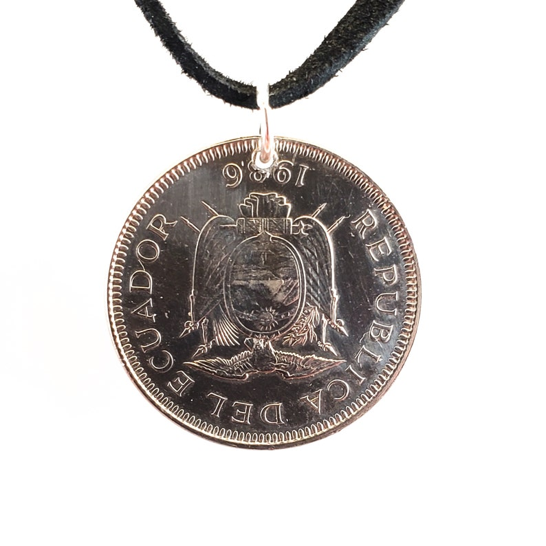 Coin Pendant Mens Necklace Leather Cord 1 Sucre 1986 Womens Necklace Ecuador Coin Necklace Birth Year