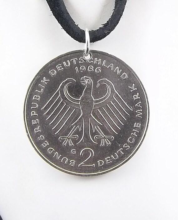 Eagle Coin Necklace German 2 Deutsche Mark Coin Pendant Etsy