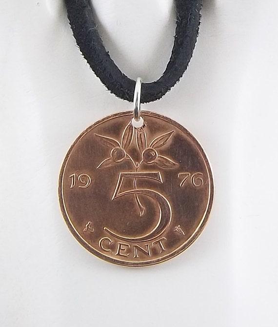 Niederlande Münzenhalskette 5 Cent Münze Anhänger Lederband Etsy
