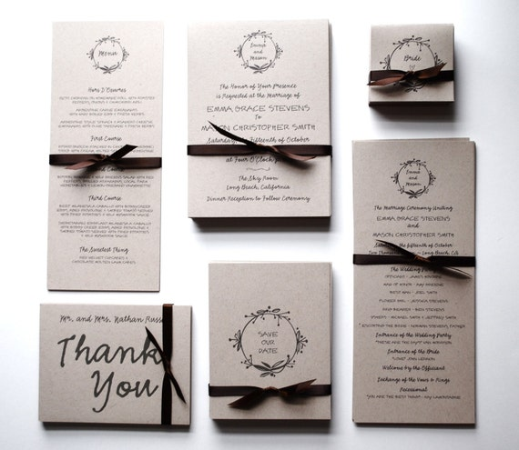 Recycled Wedding Invitations: Items Similar To Wedding Invitations & RSVP Postcards