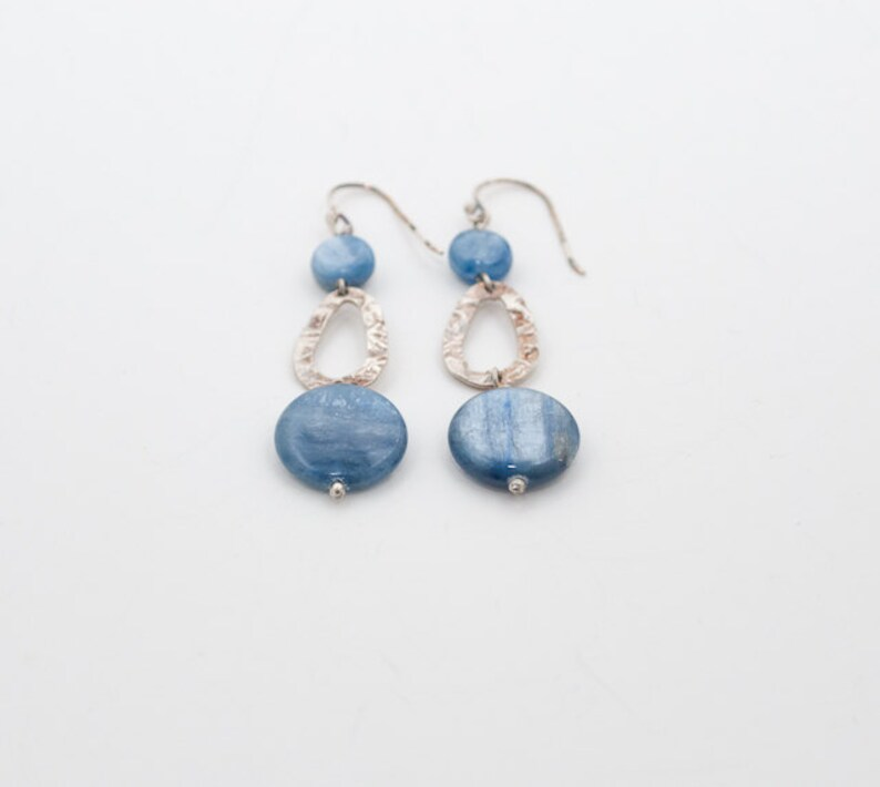 Blue Kyanite and Hammered Sterling Silver Dangle Earrings image 0