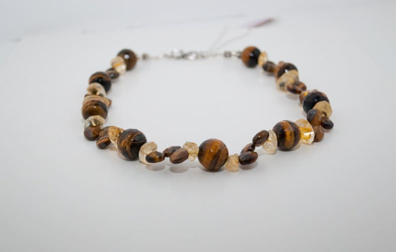 Tiger's Eye and Citrine Necklace with Sterling Silver image 0