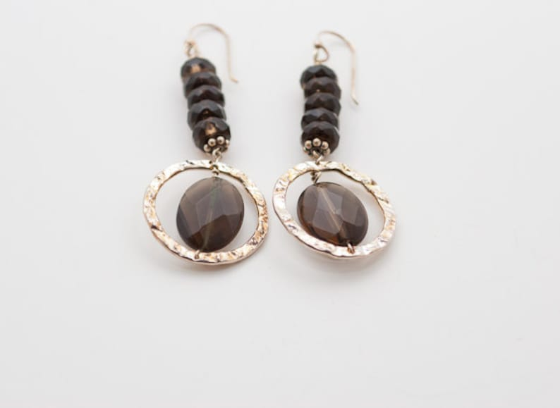 Faceted Smoky Quartz and Sterling Silver Dangle Earrings image 0