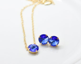 Set of Stud Earrings and Solitaire Necklace with Sapphire Blue Swarovski Stones