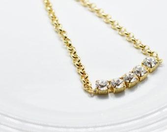 5 Stones Clear Diamond Necklace - Swarovski