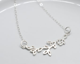 Leaf Branch Charm Necklace with decorative Freshwater Pearls, Minimal Collection