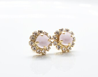 TARA - Opal Pink Center Stone Halo Pavé Stud Earrings