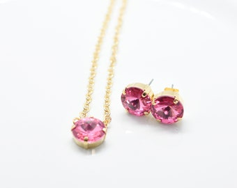 Set of Stud Earrings and Solitaire Necklace with Pink Rose Swarovski Stones