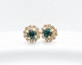 TARA - Emerald Green Center Stone Halo Pavé Stud Earrings