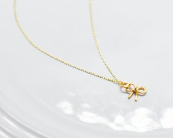 Bow Gold Charm Necklace, Minimal Collection