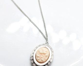 Vintage Style Floral Cameo Silver Locket Necklace