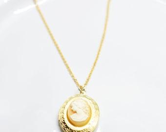 Women's Head Cameo Gold Locket Charm Necklace