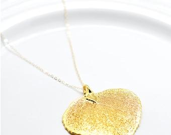 Aspen Leaf gold filled charm necklace, Minimal Collection, Botanical necklace