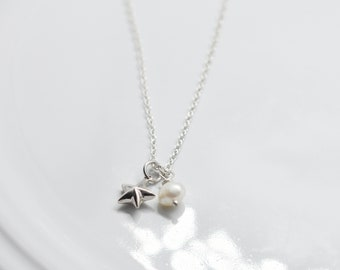 Star Charm Necklace with freshwater pear, Minimal Collection