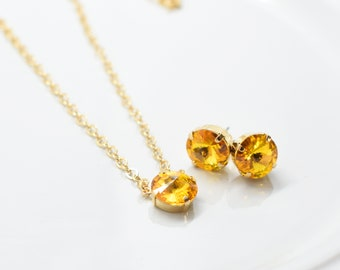 Set of Stud Earrings and Solitaire Necklace with Sunflower Yellow Swarovski Stones