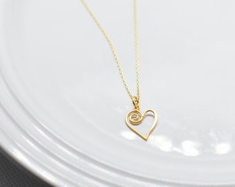 Heart Swirl Gold Charm Necklace, Minimal Collection