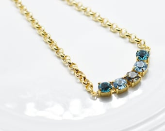 5 Stones Blue Gold Necklace - Swarovski