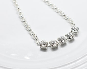 5 Stones Clear Diamond Silver Necklace - Swarovski