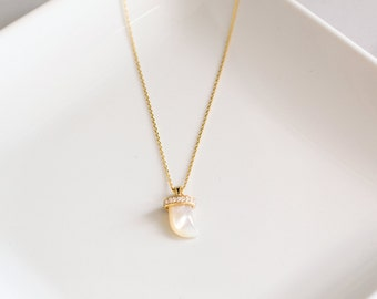 Gold Mother of Pearl Pavé charm necklace