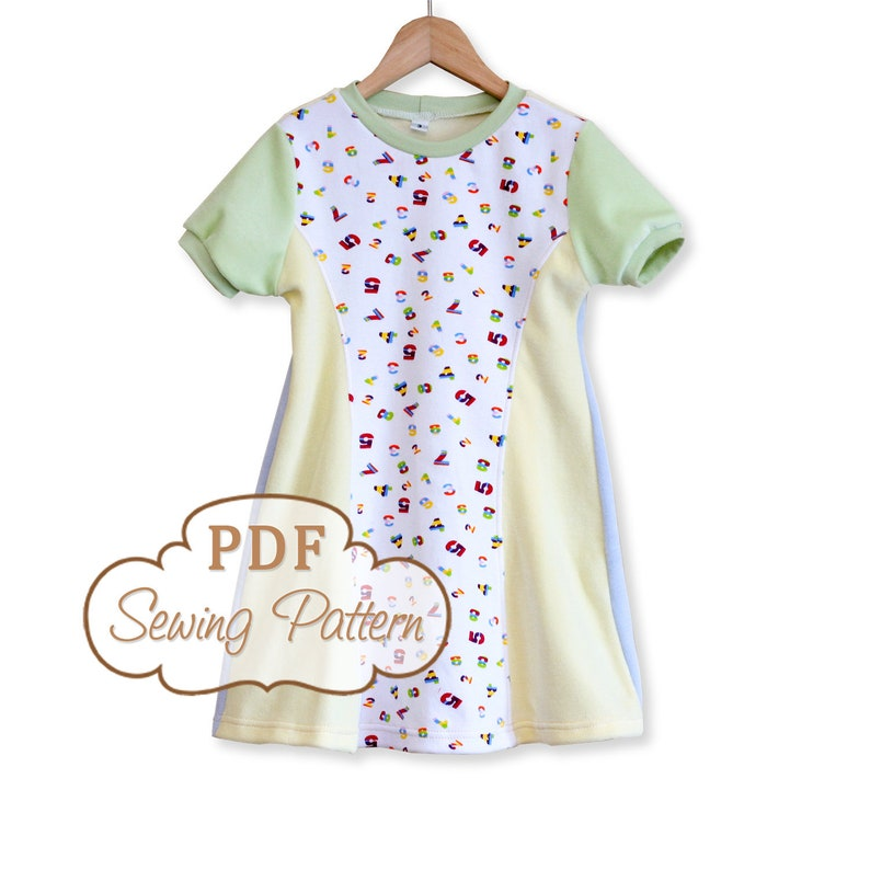 Sunshine Dress Sewing Pattern  Printable PDF  Girls Sizes 2 image 0