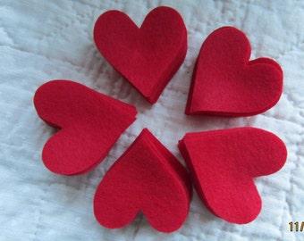 Red Felt Hearts-Small Size- 50 Die Cut Felt Hearts-DIY Valentine Crafts-Heart Shapes-DIY Felt Heart Kit-Planner Accessory-Bible Journaling
