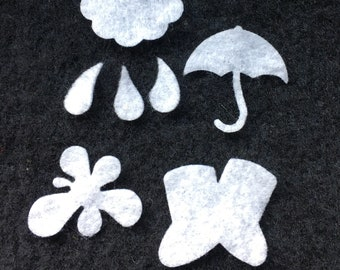 Rainy Day Felt Shapes-Wax Dipping Umbrella-Rain Boot-Cloud-Raindrops-Costume Embellishments-Bible Journaling-Planner Accessories-Kids Crafts