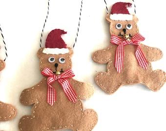 Wool Felt Teddy Bear Ornament-Handmade Teddy Bear Ornament-Gift-Christmas Ornament-Santa Bear Ornament Gift-Bookmark-Woman Gift