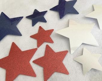 Glitter Iron-On-Star Appliques-Patriotic Apparel-July 4th Decor-HTV Glitter Appliques-Star Appliques-Star Patch-Decor