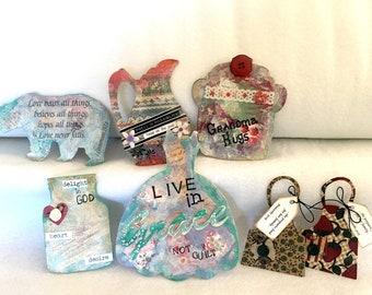Custom Handmade Magnets-Farm Style Decor-Inspirational Art-Christian Women Gift-Refrigerator Magnets-Faith Gifts-Art Collage-Gift Magnets