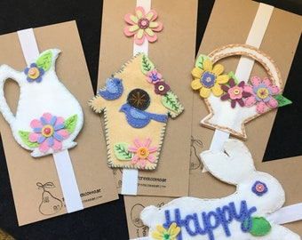 Embroidered Planner Band-Organize Travelers Notebooks-Wool Bookmark-Elastic Band-Handmade Journal Notebook Bands-Birdhouse-Flower Basket