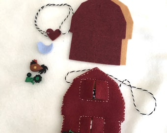 """DIY Felt Barn Ornament Kit-Felt Christmas Crafts-""""Make It""""-Rustic Barn -Handmade Holiday Gifts-Personalized Gifts-Homestead Gifts-Farm Style"""